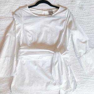NWOT! Como Vintage White Blouse w/ Waist Tie
